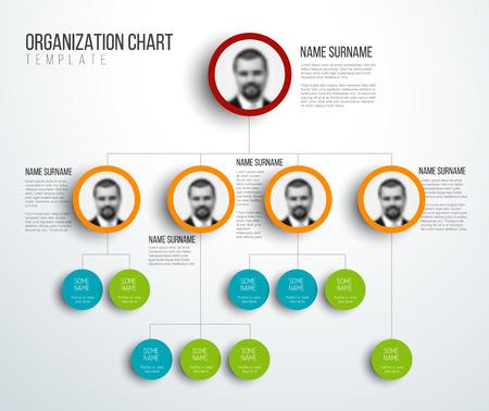 Minimalist organization hierarchy chart template - light version with photos Illustration