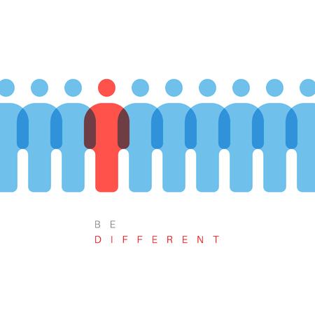 Única individualidad concepto ilustración vectorial - una cifra es diferente de los demás