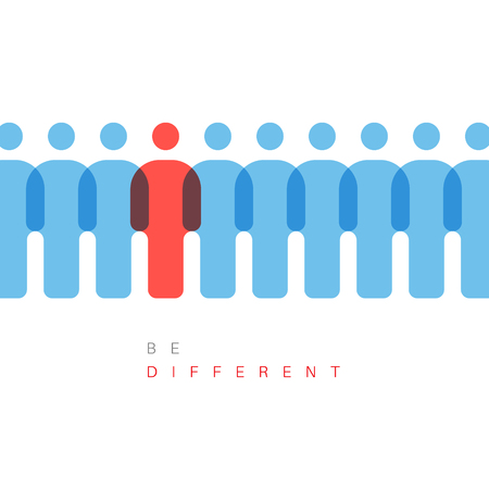 Unique individuality concept vector illustration - one figure is different from others