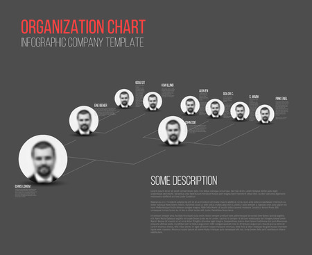 structures: Minimalist company organization hierarchy 3d chart template - dark gray version with photos