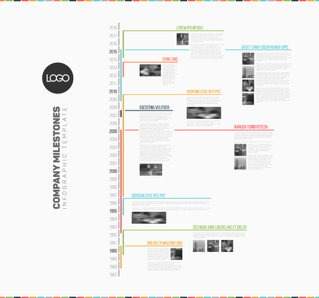 gantt: Vector Infographic multi timeline report template with the biggest milestones, icons, years - vertical ligh version