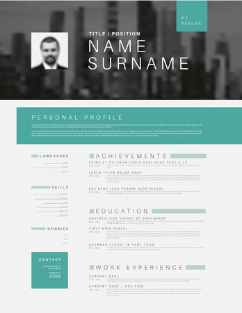 Vector Minimalist Black, White And Teal Cv / Resume Template ...