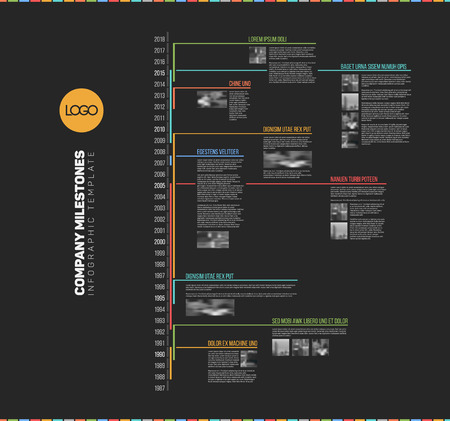 biggest: Infographic multi timeline report template with the biggest milestones, icons, years - vertical dark version.
