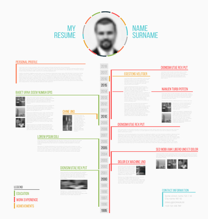 Vector minimalist cv / resume template - minimalistic colorful version, with timeline in the middle Ilustracja