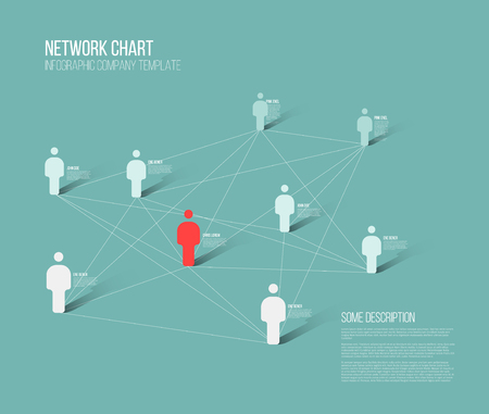 Minimalist people network 3d diagram template Illustration