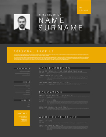 Dark Vector minimalist black, white and yellow cv  resume template design with profile and header photo Illustration
