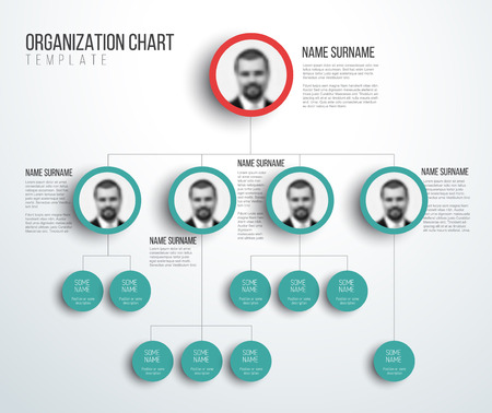 Minimalist company organization hierarchy chart template - light red and teal version with photos Stock Illustratie
