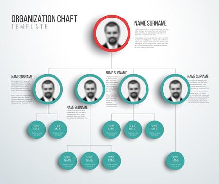 Modèle minimaliste de diagramme hiérarchique de l'organisation de la société - version rouge clair et sarcelle avec photos Banque d'images - 74645065