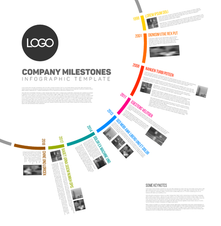 minimalistic: Infographic circular timeline report template with the biggest milestones, icons, photos and years labels