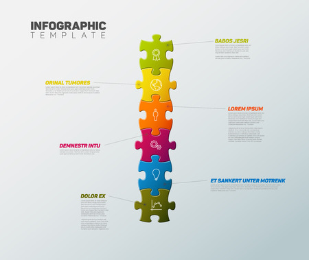 Puzzle Infographic report template made from colorful jigsaw pieces, icons and description text