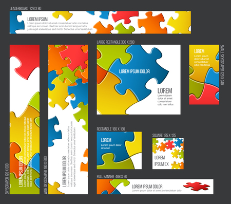 Vector Banner templates collection with collorful puzzle background
