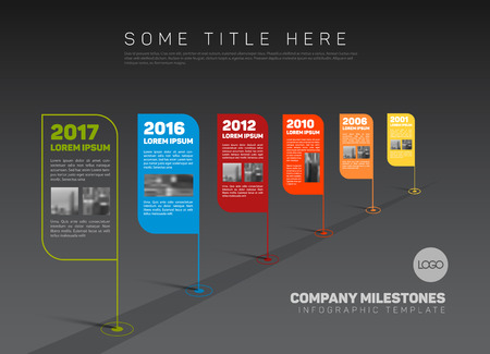 phase: Vector Infographic Company Milestones Timeline Template with flag pointers and photo placeholders on a stright line - dark version