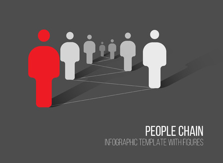 Minimalist people network 3d diagram template - dark gray version