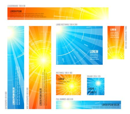 Collection of various sizes banners with blue and yellow summer sun background