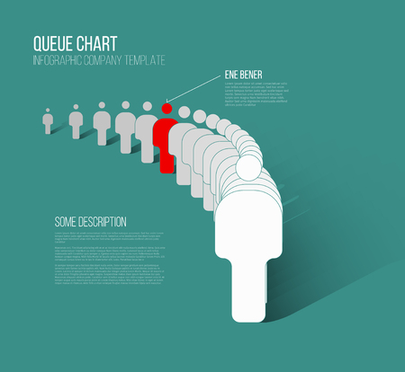 Unique individuality concept vector illustration - one figure in the queue is different from others Çizim