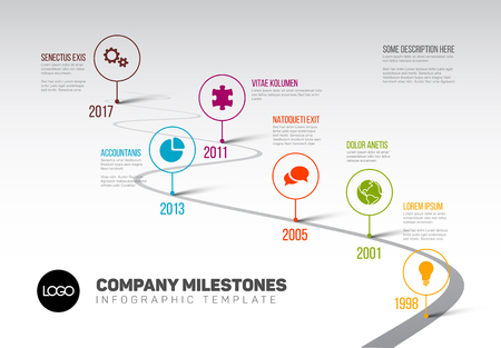 Vector Infographic Company Milestones Timeline Template with pointers on a curved road line