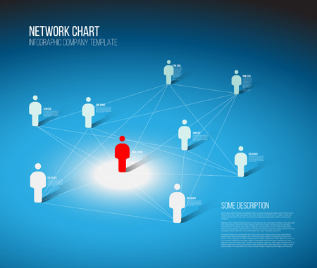 Minimalist people network 3d diagram template  - blue light version