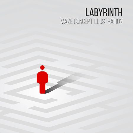 迷宮の概念ベクトル イラスト - 迷路の中で 1 つの図
