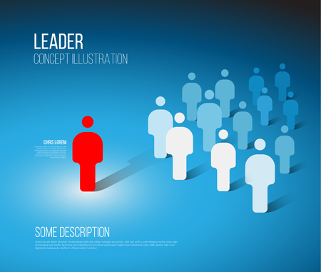 Illustration de concept de chef d'équipe - foule de figures avec le leader rouge Vecteurs