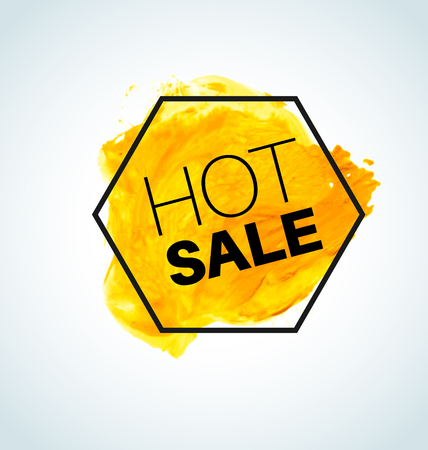 Hot Yellow Vector watercolor Sale Label with black hexagon Illustration