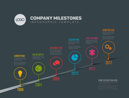 Vector Infographic Company Milestones Timeline Template with pointers on a straight road line - dark version