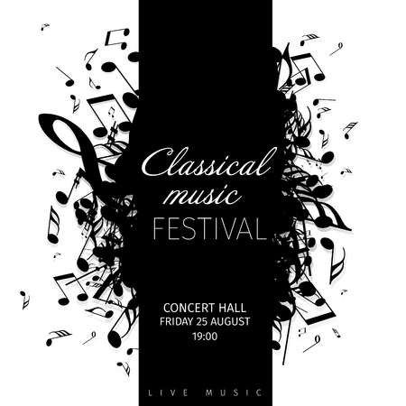Classical music concert poster template with band name and location. Vettoriali