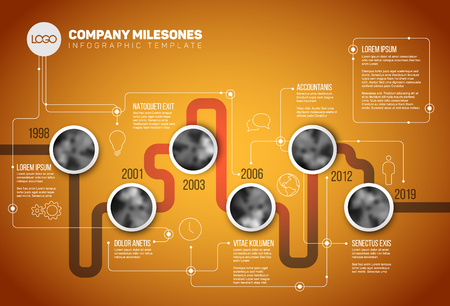 minimalistic: Vector Infographic Company Milestones Timeline Template with circle photo placeholders on a line - orange version Illustration