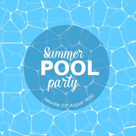 blue party: Vector summer pool party template with blue water background.