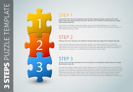 Één twee drie - vector vooruitgang pictogrammen / sjabloon voor drie stappen Vector Illustratie