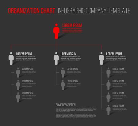 organisational: Minimalist company organization hierarchy 3d chart template - dark gray version