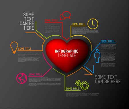 Vector heart  love Infographic report template made from lines and icons - dark version