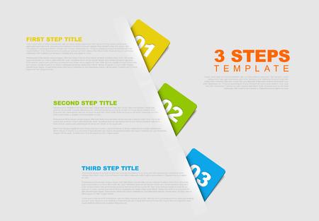 1 つ 2 つ 3 つの手順の 3 つのベクトル進行状況テンプレート