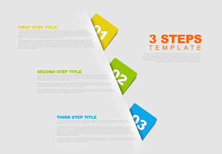 rounded rectangle: One two three - vector progress template for three steps Illustration