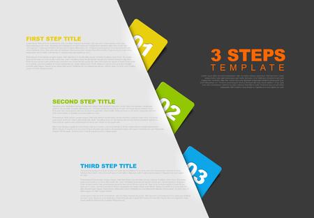 1 2 3 - 3 단계에 대한 벡터 진행 템플릿