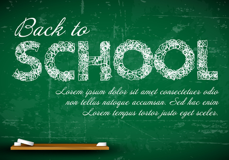 schoolkids: Back to school vector white illustration on a green chalkboard