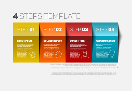 One two three four - vector paper progress steps template with descriptions and icons