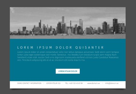 paper sheet: Modern business corporate brochure flyer design vector template with photos and sample content - horizontal version