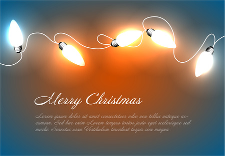 A Vector Christmas background with white christmas chain lights on blue and orange illustration. Ilustração