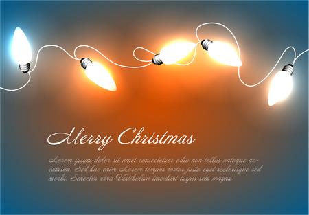 Un vettore sfondo Natale con luci bianche della catena di Natale su illustrazione blu e arancione. Archivio Fotografico - 83096742