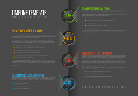 version: A Vector Infographic timeline report template - dark version illustration.