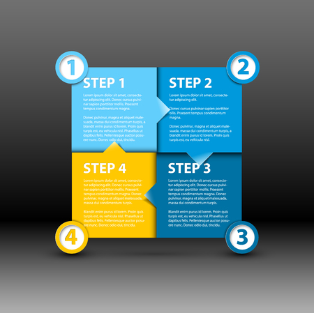 version: One two three four - vector paper progress steps for tutorial - blue and yellow version