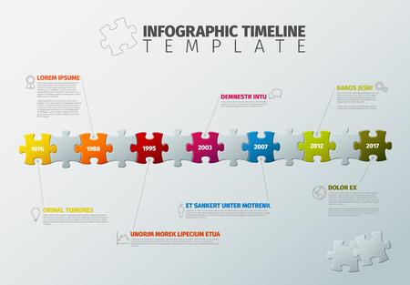 ベクトル パズル カラフルなジグソー パズルのピースは、アイコンと説明テキストの図から作られたインフォ グラフィック タイムライン レポート