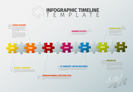 A Vector puzzle Infographic timeline report template made from colorful jigsaw pieces, icons and description text illustration.