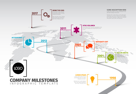 A Vector Infographic Company Milestones Timeline Template with pointers on a curved road line 일러스트