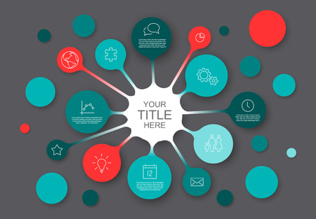 Teal and red Vector Infographic report template with bubbles - dark version.