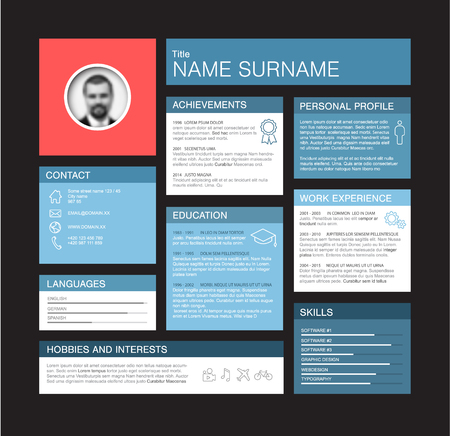 dashboard: Vector minimalist cv  resume dashboard profile template - blue and red version