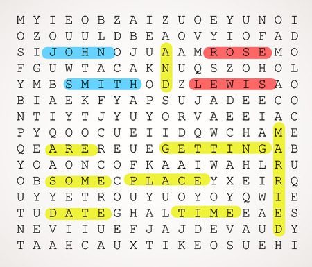 Wedding card invitation as a word search puzzle with highlighted texts