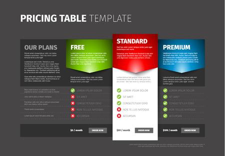template: Product  service pricing comparison table with description - dark version