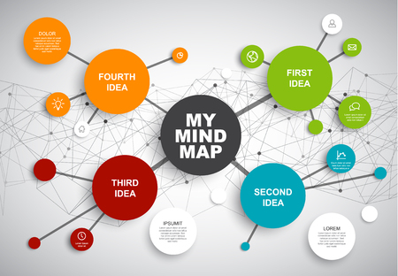 Vector abstract mind map infographic template with place for your content