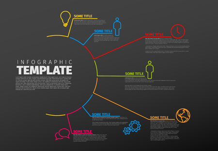 layout: Vector multipurpose Infographic template made from lines and icons - dark version